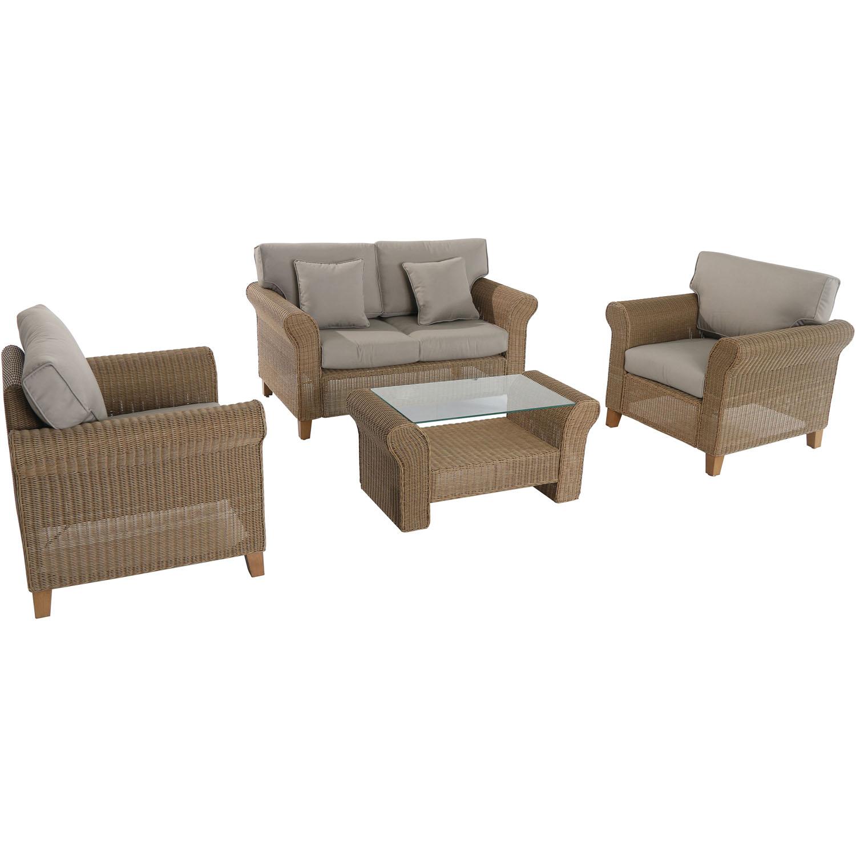 Hanover Outdoor Sea Breeze 4-Piece Wicker Seating Set in Greige Tan by Supplier Generic