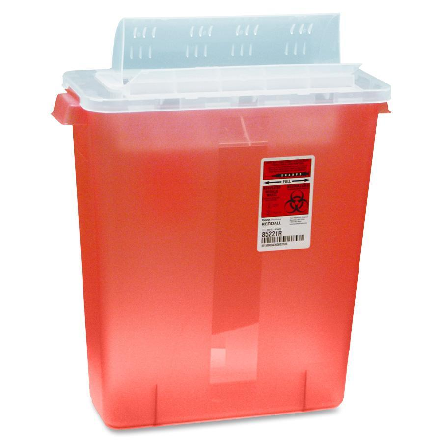 Covidien, CVDSTRT10021R, Transparent Red Sharps Container, 1, Red