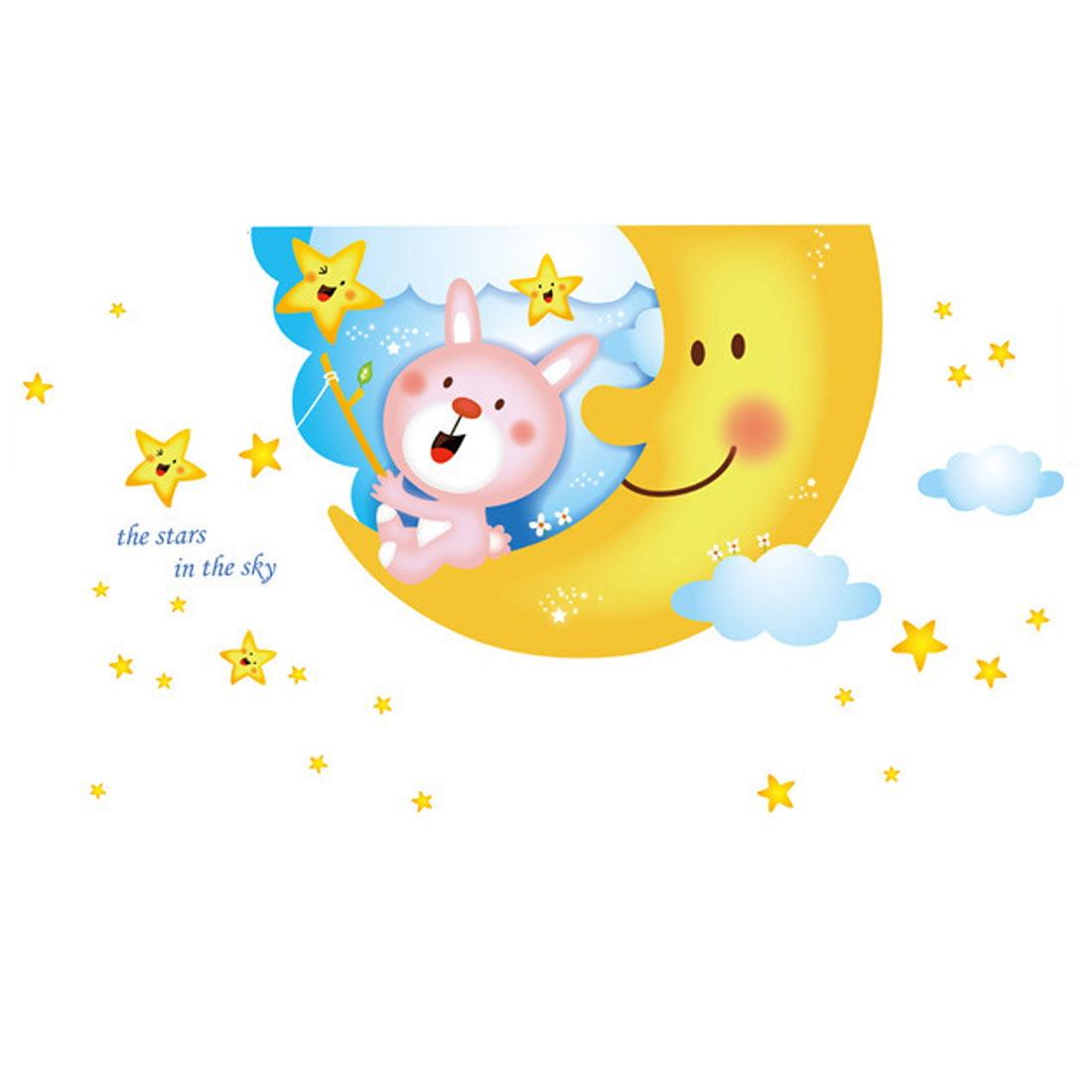 Bedroom Moon Stars Bear Print Adhesive Wall Sticker Decal Wallpaper