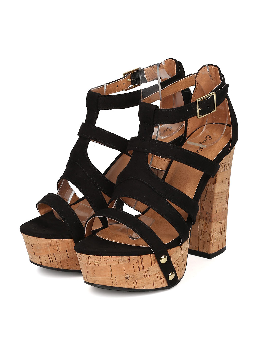 New Women Qupid Crush-03 Faux Suede Strappy Cork Platform Block Heel Sandal