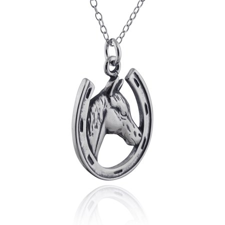 Horseshoe Italian Charm - Sterling Silver Horse in Horseshoe Charm Necklace, 18