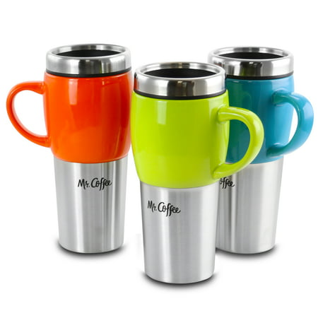 Mr. Coffee Traverse 3 Piece 16 Ounce Stainless Steel and Ceramic Travel Mug and Lid in Red, Blue and Green Nfl Ceramic Travel Coffee Mug