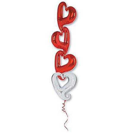 Red Holographic Chain of Hearts Mylar Balloons](Red Heart Ballons)