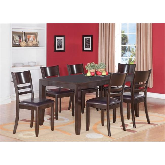 Wooden Imports Furniture LY7-CAP-LC 7PC Lynfield Rectangular Dining Table with Butterfly leaf & 6 Faux Leather upholstered Seat Chairs in Cappuccino Finish
