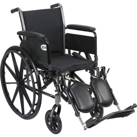 Drive Medical Cruiser Iii Light Weight Wheelchair With Flip Back Removable Arms  Full Arms  Elevating Leg Rests  18  Seat