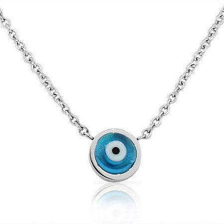 EDFORCE Stainless Steel Blue Silver-Tone Hamsa Evil Eye Link Chain Pendant Necklace Blue Evil Eye