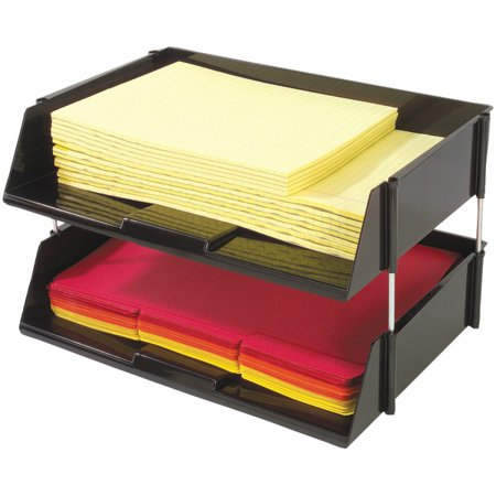 DEFLECTO 582704 Industrial Tray(TM) Side-Load Stacking Trays with Risers, 2