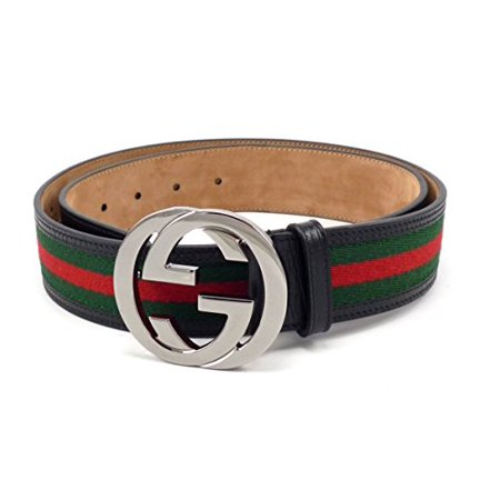 d93dae38579 Gucci - 100% Authentic GG Silver Buckle Gucci Black leather belt  Green Red Green - Walmart.com