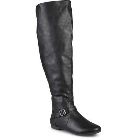 Wome's Wide Calf Buckle Tall Round Toe Riding (Tall Leather Riding Boots)