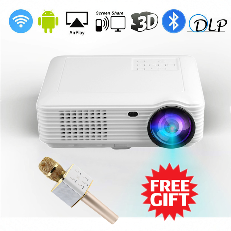 2018 Upgraded Projector – 3500 Lumens (+80%) Home Projector – Portable Video Projector – Compatible with PC/Mac/TV/DVD/iPhone/iPad/USB/SD/AV/HDMI for Home Theater/Outdoor/Video Games