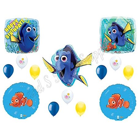 FINDING DORY & NEMO Happy Birthday Balloons Decoration Supplies Party Disney Fish (Fish Party Supplies)