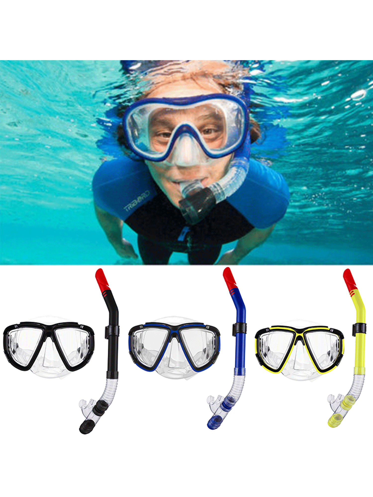Anyprize Swimming Mask Goggle with Enviromental PVC Mouthpiece for Children, Dry Snorkel Scuba Diving Mask for Kids,... by