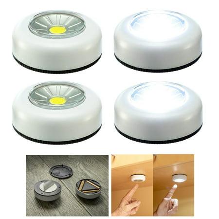 4 Pc COB LED Night Light Push Stick On Wireless Closet Cordless Battery Operated