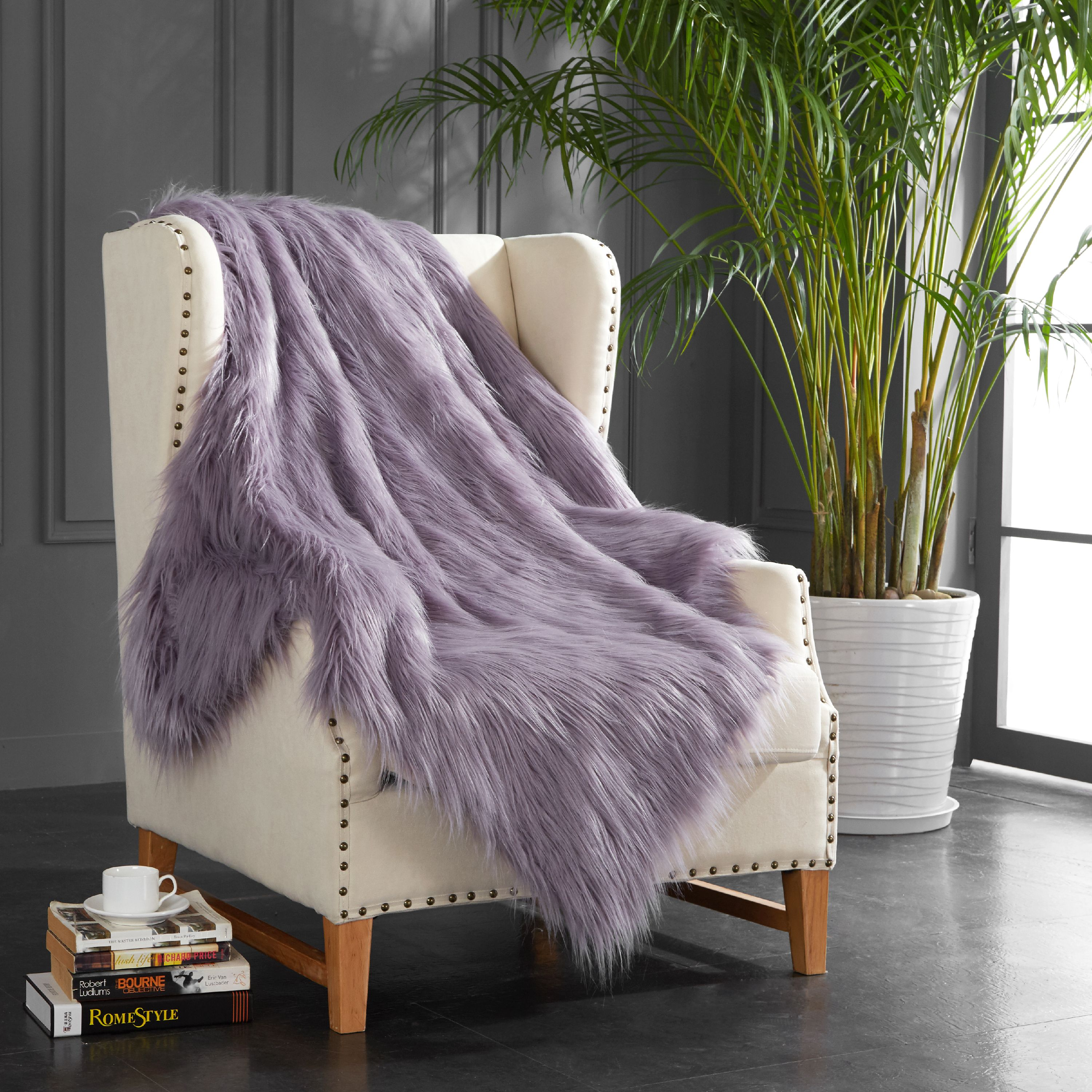 Mainstays Lavender Mongolian Faux Fur Throw