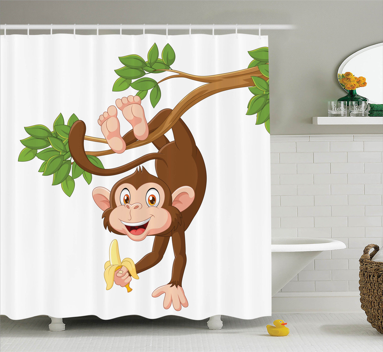 Cartoon Decor  Funny Monkey Hanging From Tree And Holding Banana Jungle Animals Theme Mascot Print, Bathroom Accessories, 69W X 84L Inches Extra Long, By Ambesonne