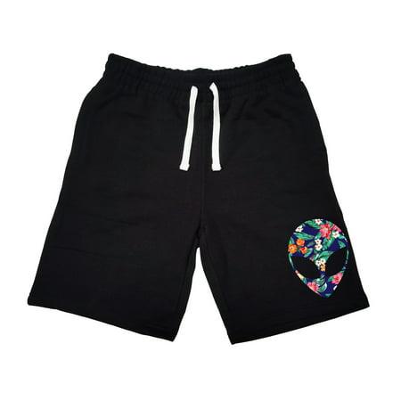 Men's Hawaii Floral Alien Head KT B1209 Black Fleece Jogger Sweatpant Gym Shorts Medium Black - Alien Pants