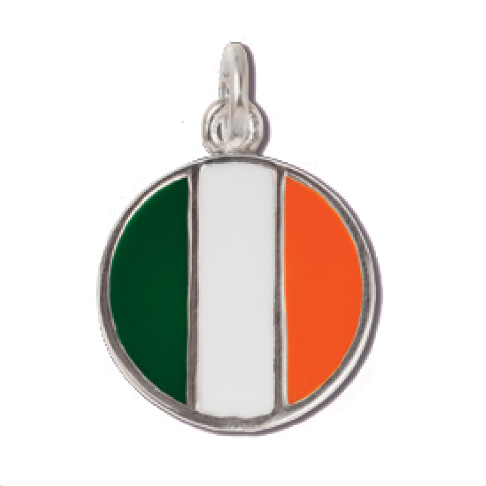 Sterling Silver Ireland Flag Disc Charm Pendant on a Sterling Silver Carded Box Chain Necklace, 18""