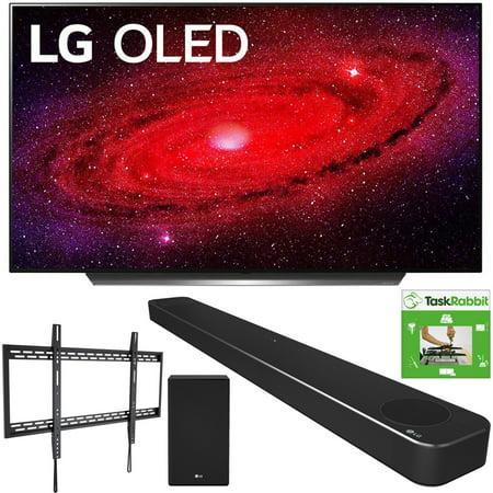 LG OLED77CXPUA 77-inch CX 4K Smart OLED TV with AI ThinQ (2020) Bundle with LG SN8YG 3.1.2 ch High Res Audio Soundbar + TaskRabbit Installation Services + Monoprice Fixed TV Wall Mount