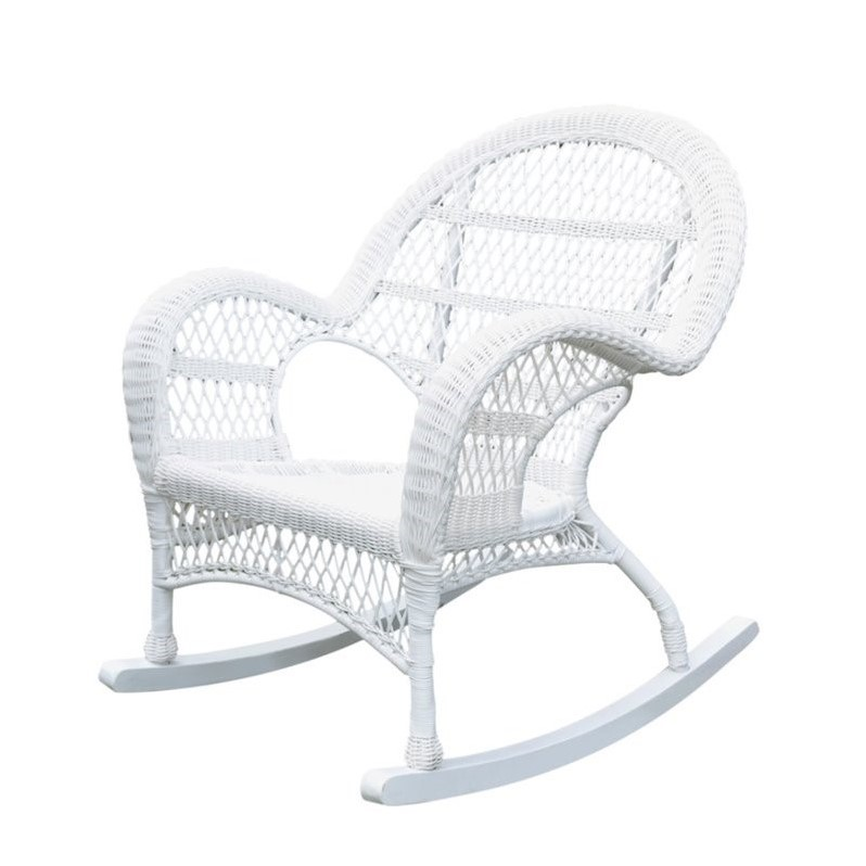 Jeco Rocker Wicker Chair in White