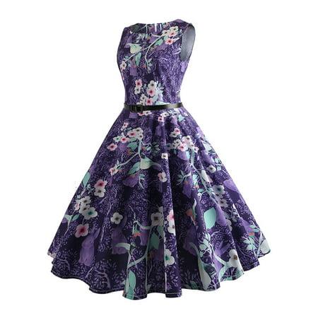 Women 50s Rockabilly Retro Vintage Dress Sleeveless Belt Swing Floral Dress - 50s Belt