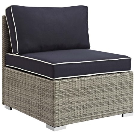 Modern Contemporary Urban Design Outdoor Patio Balcony Garden Furniture Sofa Middle Chair, Sunbrella Rattan Wicker, Navy Blue Light Gray