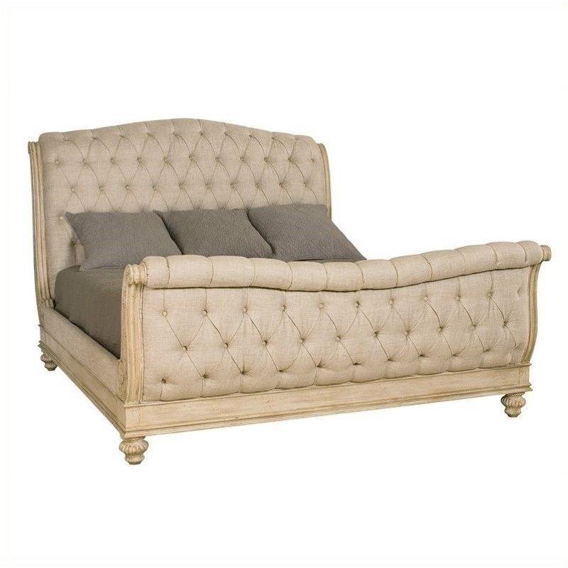 Beaumont Lane Queen Sleigh Bed in White Veil