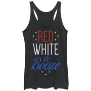 Chin Up Women's 4th of July Red White and Booze Racerback Tank Top