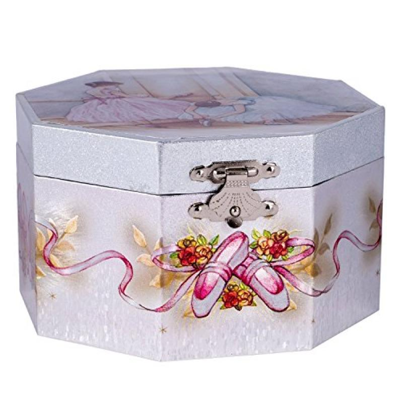 Girls Musical Jewelry Music Box Spinning Ballerina Ballet Shoes Plays Swan Lake