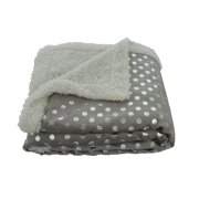 Sweet Home Collection Dots Sherpa Reversible Faux Lamb's Wool Throw Blanket