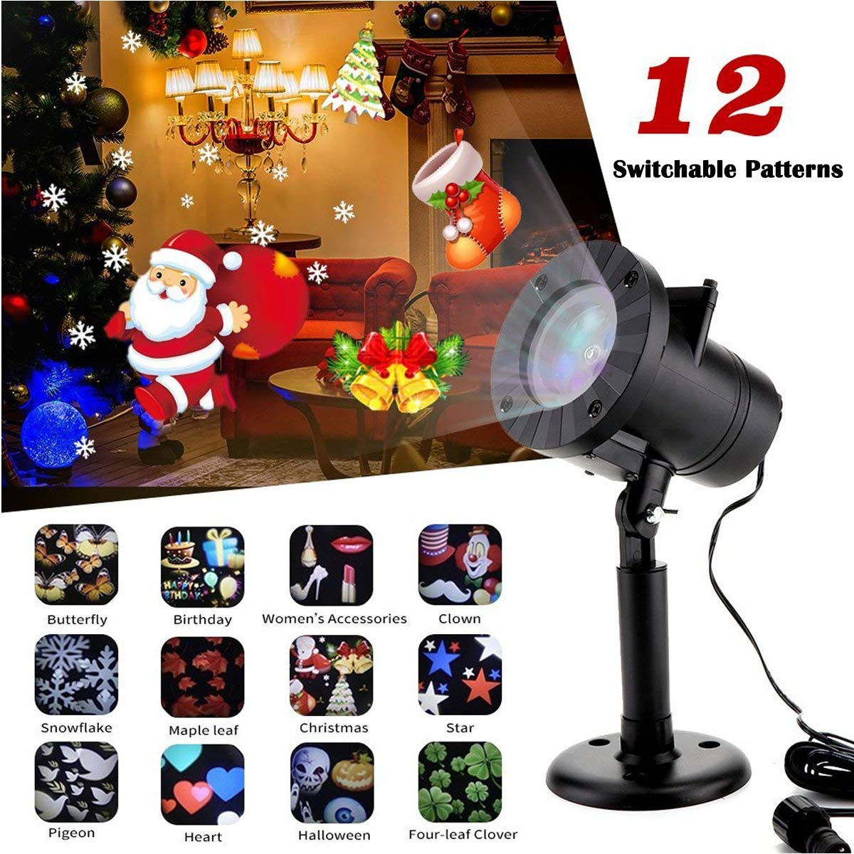 Christmas Light Projector, Tagital LED Projector Lights 12 Switchable Patterns Indoor and Outdoor Landscape Spotlight for Children Birthday Party Holiday Wedding Home Decor