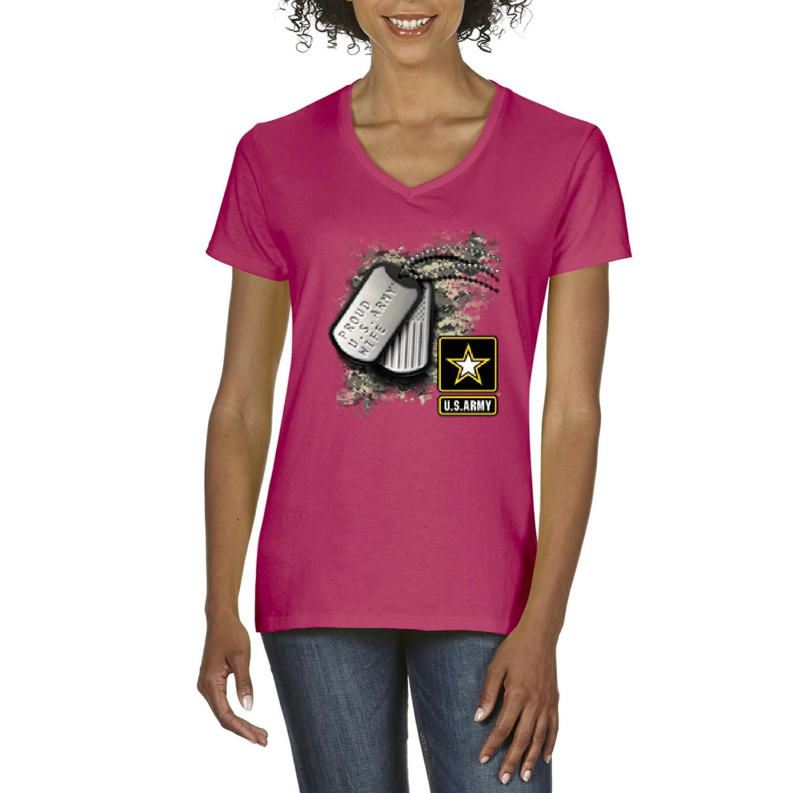 J_H_I Proud U.S. Wife Tag Army Gifts Army Troop Homecoming Surprise Party Womens Shirts V-neck