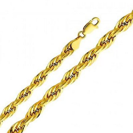 14K Yellow Gold Men Women's 5.0MM Silky Hollow Rope Chain Lobster Clasp (22) 14k Gold Fancy Solitaire