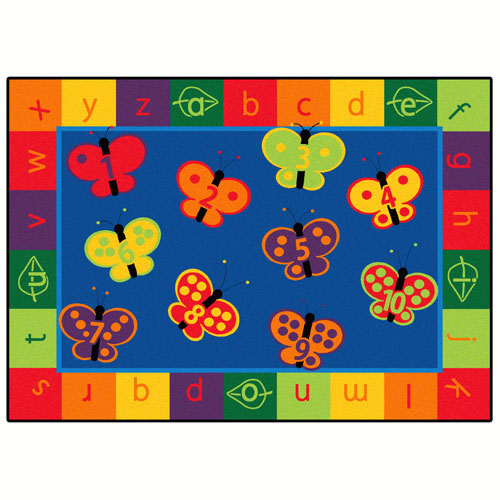 123 ABC Butterfly Fun Rectangle Rug 7'8'' x 10'10''