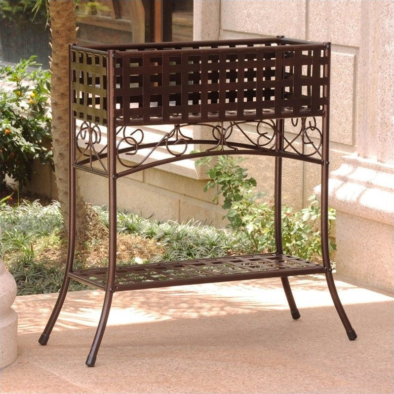 International Caravan Mandalay 2 Tier Plant Stand in Hammered Bronze by International Caravan