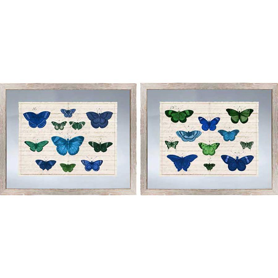 """Green and Blue Butterflies 22.25"""" x 18.25"""" Wall Art"""