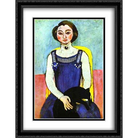 Girl with A Black Cat 2x Matted 28x36 Large Black Ornate Framed Art Print by Matisse, Henri - Henri Black Cat Halloween