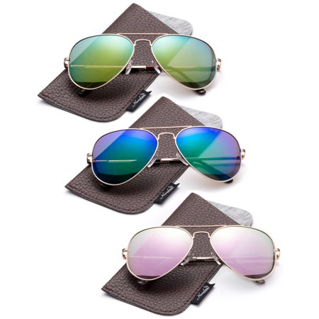 1aaa6b6eb2d84 Newbee - Polarized Aviator Sunglasses Mirrored Lens Classic Aviator  Polarized Sunglasses Small - Walmart.com