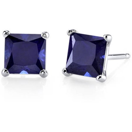 2.75 Carat T.G.W. Princess-Cut Created Blue Sapphire 14kt White Gold Stud Earrings