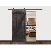 36 in. x 84 in. Z-Bar Dark Walnut Stained Solid Knotty Pine Wood Interior Sliding Barn Door with Sliding Hardware Kit