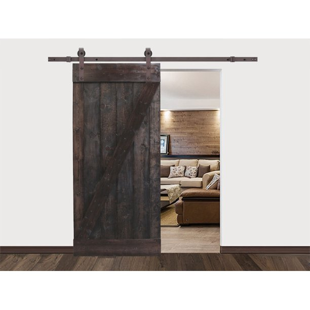 CALHOME 36 in. x 84 in. Dark Walnut Plank Knotty Pine Sliding Barn Wood Interior Door slab with 6.6 ft. Dark Coffee Sliding Door Hardware Kit