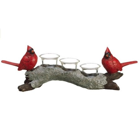 16 glittered red cardinals on branch votive candle holder christmas decorations