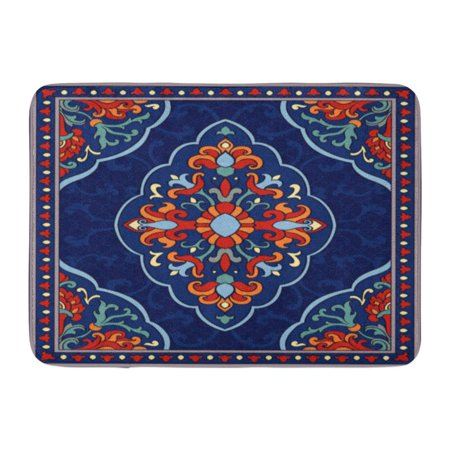KDAGR Orange Damask Oriental Abstract Blue Shawl and Any Ornamental Colorful Pattern Filigree Details Red Doormat Floor Rug Bath Mat 23.6x15.7 inch