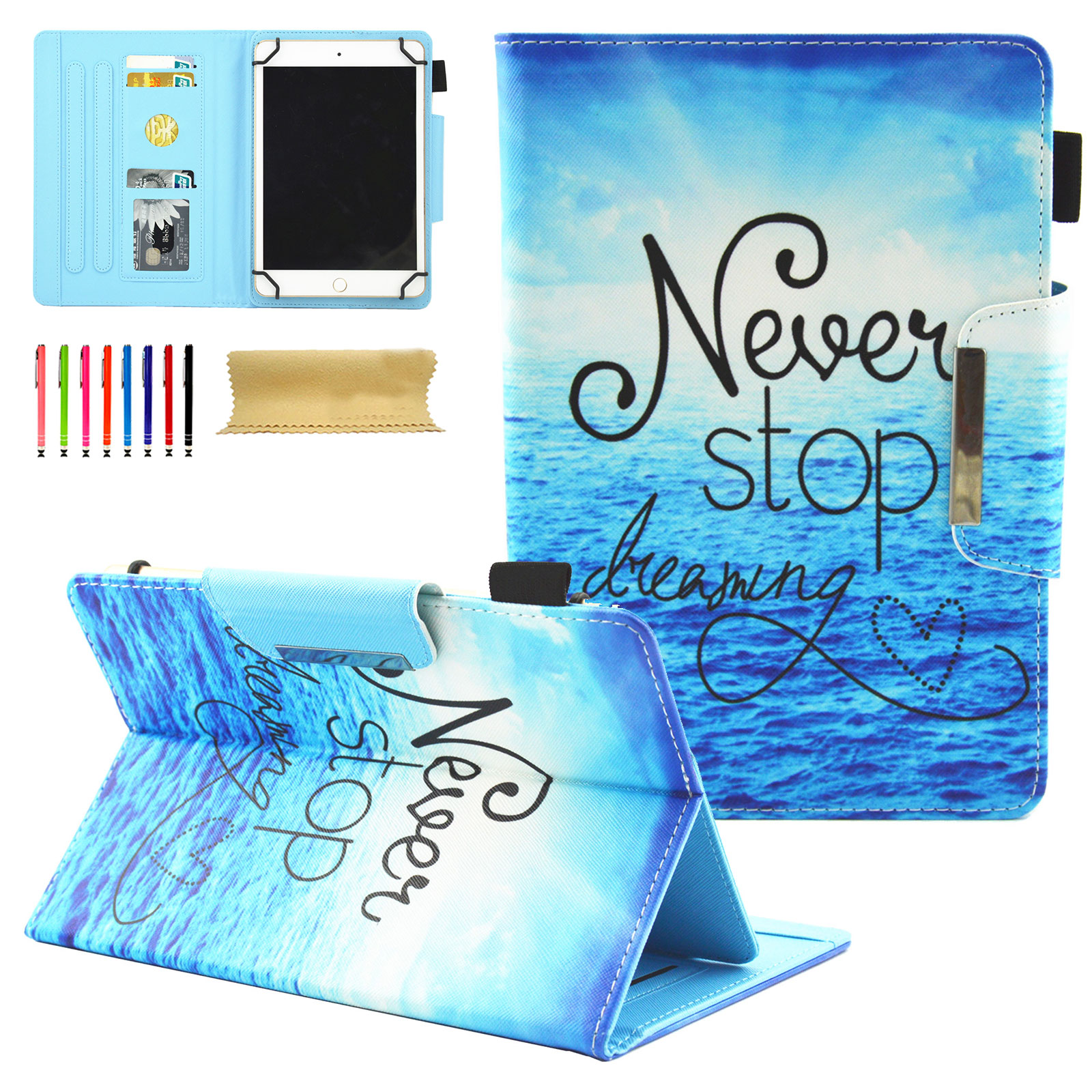 Universal Folio Case for All 6 - 7 inch Tablet, Goodest PU Leather Stand Cover for Kindle Paperwhite,Fire 7,HDX7,Samsung Galaxy Tab,eBook Reader,Nexus & Nexus FHD,Dragon Touch,Chromo, Never Stop