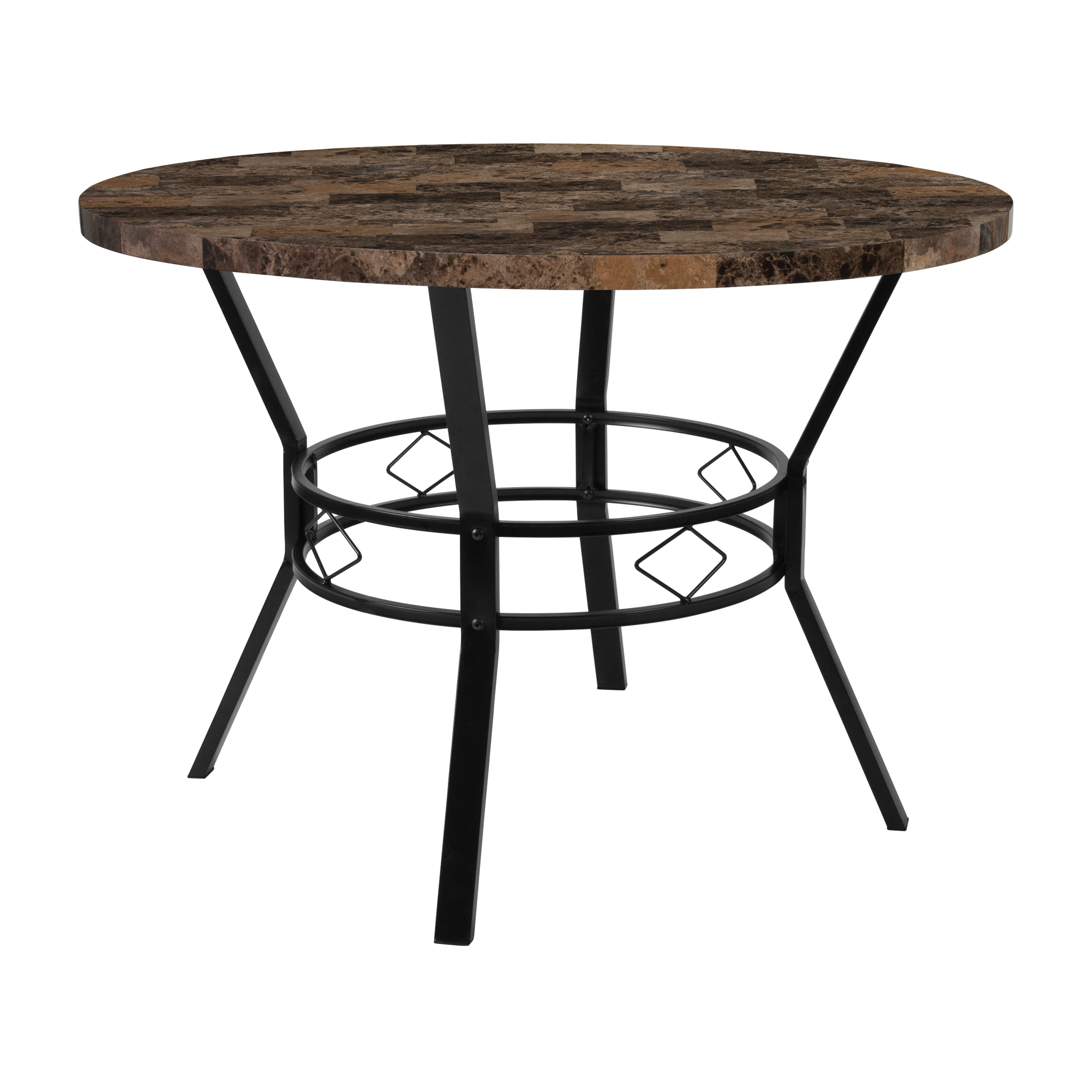 """Flash Furniture Tremont 42"""" Round Dining Table in Swirled Chocolate Marble-Like Finish by Flash Furniture"""