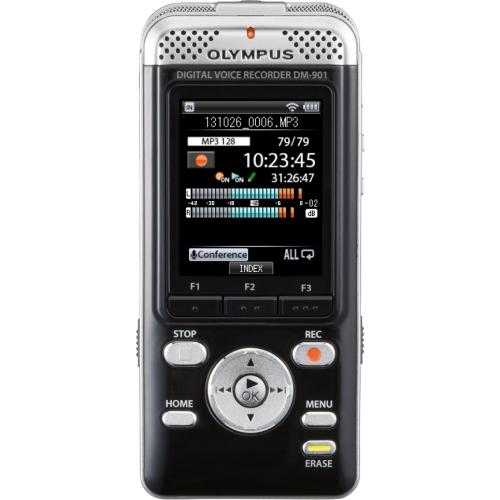 "Olympus V407141BU000 Olympus DM-901 4GB Digital Voice Recorder - 4 GB Flash Memory - 2"" LCD - Headphone - 850 HourspeaceRecording Time - Portable"