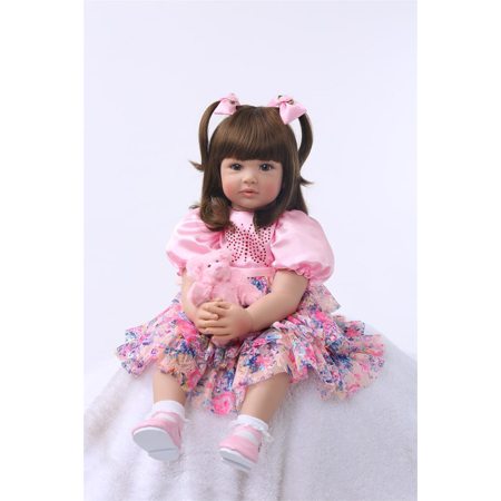 Princess Sue Reborn Baby Doll Soft Silicone 22inch 55cm Magnetic Lovely Lifelike Cute Lovely Baby doll (Princess Peach Cute)