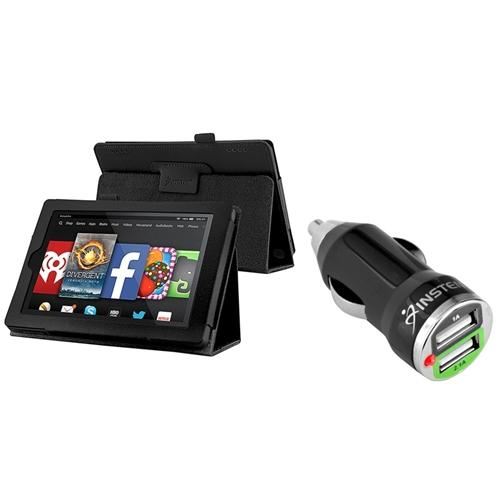 "Insten For 2014 Amazon Kindle Fire HD 7"" Tablet Folio PU Leather Smart Case Black (with 2-Port USB Car Charger Adapter)"