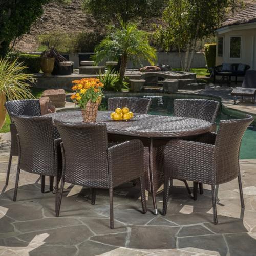 Carolina Multibrown Outdoor Wicker 7-Piece Dining Set