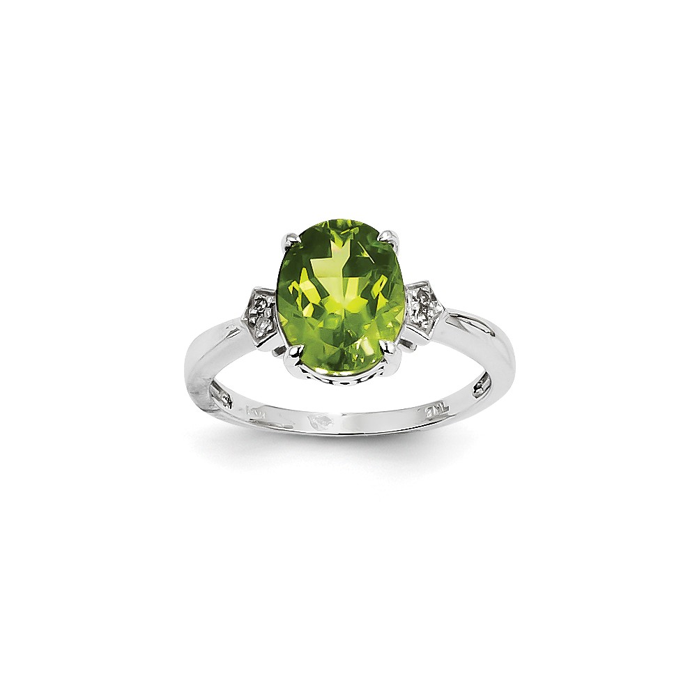 14K White Gold (0.02cttw) Diamond and Peridot Oval Ring Size-7 by