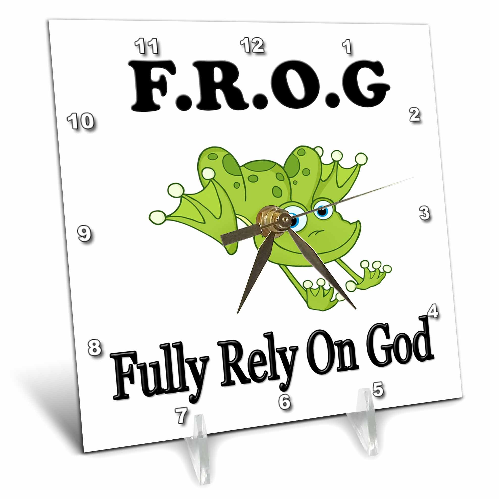 3dRose FROG fully rely on god, Desk Clock, 6 by 6-inch by 3dRose